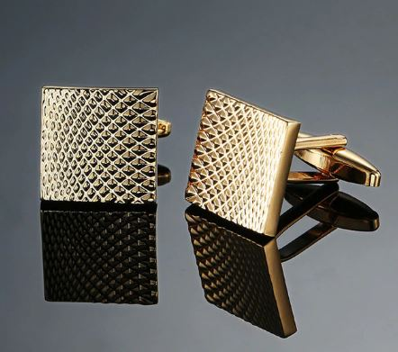 Stylish Gold Square Cufflinks - Crazy Cuffs