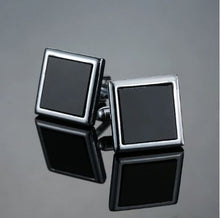 Load image into Gallery viewer, Classic Square Silver and Black Cufflinks - Crazy Cuffs