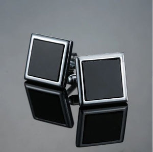 Classic Square Silver and Black Cufflinks - Crazy Cuffs