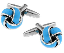 Load image into Gallery viewer, Blue and Silver Knot Cufflinks - Crazy Cuffs