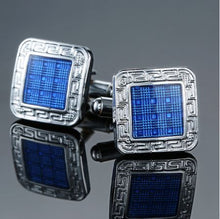 Load image into Gallery viewer, Classic Square Silver and Blue Cufflinks - Crazy Cuffs