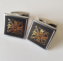 Load image into Gallery viewer, Classic Square Silver, Black and Gold Cufflinks - Crazy Cuffs