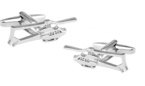 Silver Helicopter Cufflinks