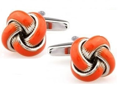 Silver and Orange Knot Cufflinks