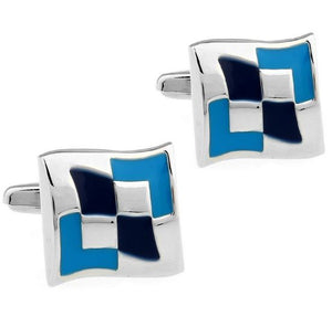 Cool Silver and Blue Cufflinks - Crazy Cuffs