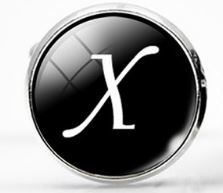 Large Silver Plated Single Letter (X) Cufflink