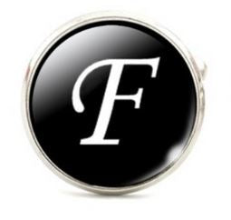 Large Silver Plated Single Letter (F) Cufflink