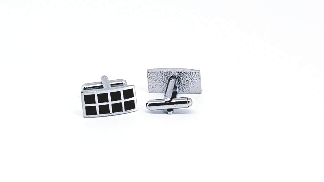 Silver and Black Rectangle Cufflinks - Crazy Cuffs