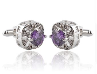 Stunning Silver Cufflinks with CZ Crystals