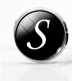 Large Silver Plated Single Letter (S) Cufflink