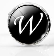 Large Silver Plated Single Letter (W) Cufflink