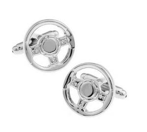 Silver Steering Wheel Cufflinks - Crazy Cuffs