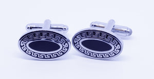 Silver and Black Oval Cufflinks - Crazy Cuffs