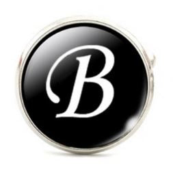 Large Silver Plated Single Letter (B) Cufflink