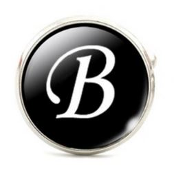 Small Silver Plated Single Letter (B) Cufflink