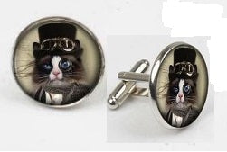 Alice in Wonderland - Cheshire Cat Cufflinks - Crazy Cuffs