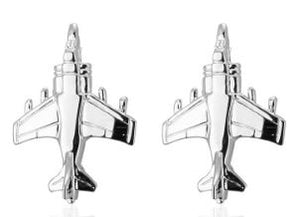 Stylish Silver Jet Plane Cufflinks - Crazy Cuffs