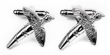 Load image into Gallery viewer, Silver Swallow Cufflinks - Crazy Cuffs