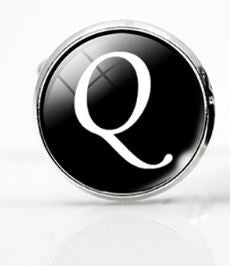 Small Silver Plated Single Letter (Q) Cufflink