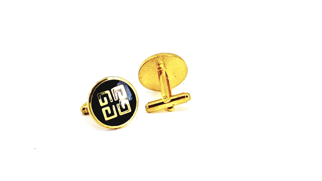 Gold and Black Round Cufflinks - Crazy Cuffs