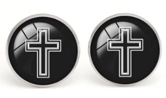 Stylish Black and White Cross  Cufflinks - Crazy Cuffs