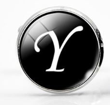 Small Silver Plated Single Letter (Y) Cufflink