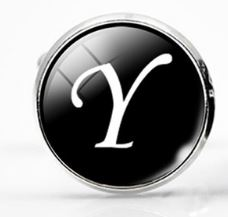 Large Silver Plated Single Letter (Y) Cufflink