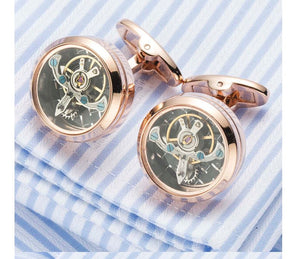 Stunning Rose Gold Steampunk Round Watch Gear Cufflinks - Crazy Cuffs