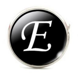 Large Silver Plated Single Letter (E) Cufflink
