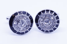 Load image into Gallery viewer, Silver and Black Cufflinks with CZ Crystals - Crazy Cuffs