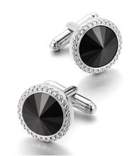 Load image into Gallery viewer, Classic Silver and Black Round Cufflinks - Crazy Cuffs