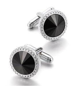 Classic Silver and Black Round Cufflinks - Crazy Cuffs