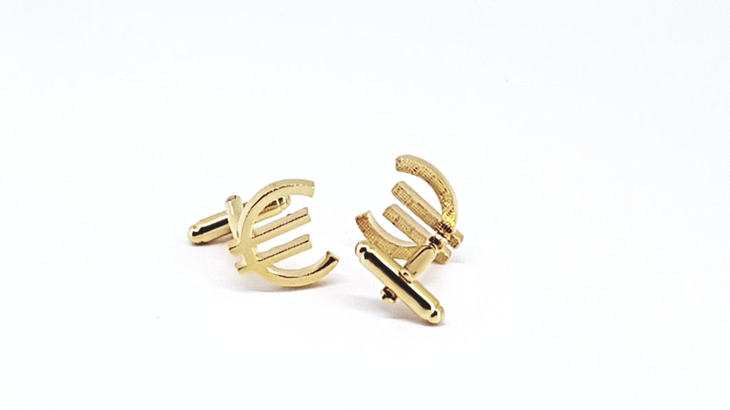 Gold Euro Sign Cufflinks - Crazy Cuffs