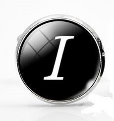 Large Silver Plated Single Letter (I) Cufflink