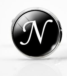 Large Silver Plated Single Letter (N) Cufflink