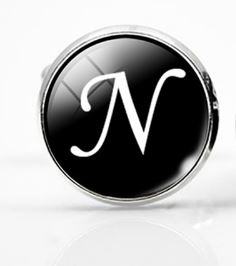 Small Silver Plated Single Letter (N) Cufflink