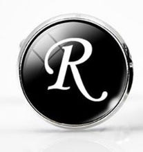 Load image into Gallery viewer, Large Silver Plated Single Letter (R) Cufflink - Crazy Cuffs