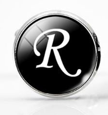 Small Silver Plated Single Letter (R) Cufflink