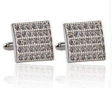 Load image into Gallery viewer, Silver Cufflinks with CZ Crystals - Crazy Cuffs