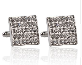 Silver Cufflinks with CZ Crystals