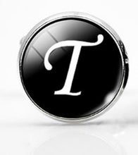 Load image into Gallery viewer, Small Silver Plated Single Letter (T) Cufflink - Crazy Cuffs