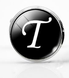 Small Silver Plated Single Letter (T) Cufflink