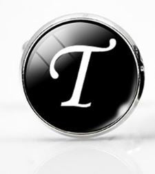Large Silver Plated Single Letter (T) Cufflink