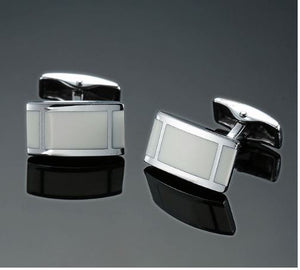 Gorgeous Silver and Cream Inserts Cufflinks