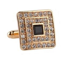 Load image into Gallery viewer, Gold Cufflinks with a Rhinestone and CZ Crystals - Crazy Cuffs
