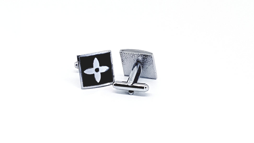 Silver and Black Square Cufflinks - Crazy Cuffs