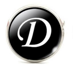 Large Silver Plated Single Letter (D) Cufflink