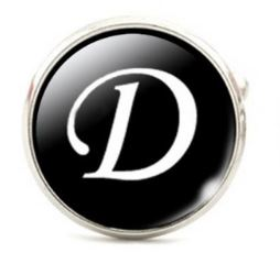 Small Silver Plated Single Letter (D) Cufflink