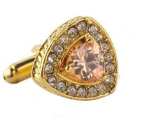 Load image into Gallery viewer, Gold Cufflinks with CZ Crystals - Crazy Cuffs