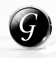 Large Silver Plated Single Letter (G) Cufflink